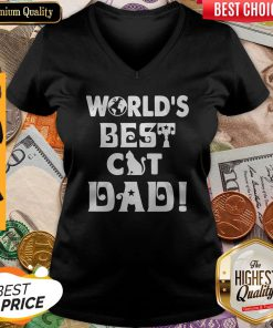Nice Worlds Best Cat Dad Fathers V-neck