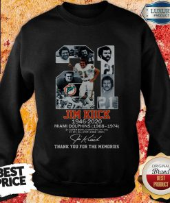 21 Jim Kiick 1946 2020 Miami Dolphins 1968 1974, Thank You For The Memories Signature Sweatshirt