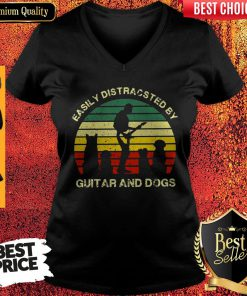 Cute Easiol Y Distracted By Guitar and Dogs Vintage V-neck