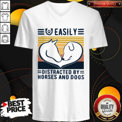 Easily Distracted By Horses And Dogs Vintage V-neck