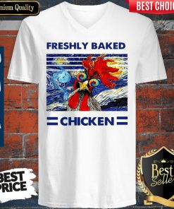 Nice Freshly Baked Chicken Oil Painting Vintage V-neck