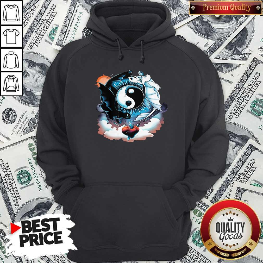 Awesome Toothless Dragon And His Girlfriend Heart Moon Hoodie