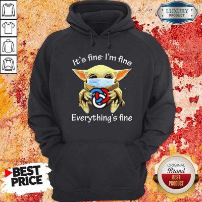 Baby Yoda Hug Primerica It's Fine I'm Fine Everything's Fine Halloween Hoodie