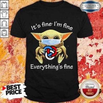 Baby Yoda Hug Primerica It's Fine I'm Fine Everything's Fine Halloween Shirt