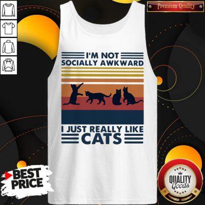 I'm Not Socially Awkward I Just Really Like Cats Vintage Retro Tank Top