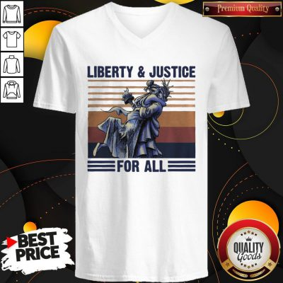 Liberty And Justice For All Vintage Retro V-neck