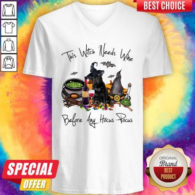 Nice Pug This Witch Needs Wine Before Any Hocus Pocus V-neck