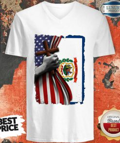 Official West Virginia American Flag Cross Happy Independence Day V-neck
