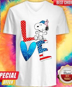 Snoopy Love American 4th Of July V-neck