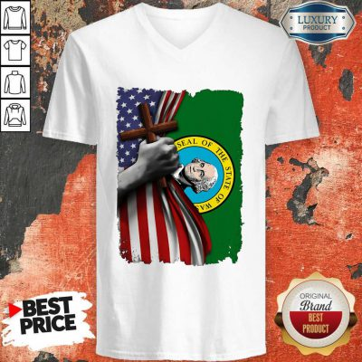 Top Washington American Flag Cross Happy Independence Day V-neck