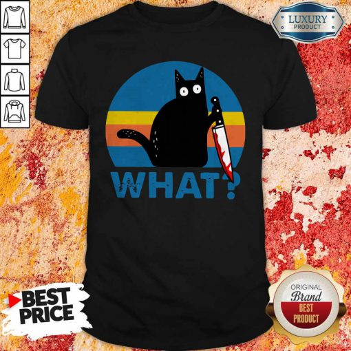 Black Cat Horror Bloody With Knife Vintage Shirt