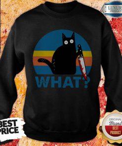 Black Cat Horror Bloody With Knife Vintage SweatShirt