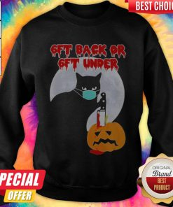 Cat Face Mask Pumpkin 6ft Back Or 6ft Under Halloween SweatShirt