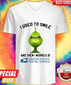 Grinch I Used To Smile And Then I Worked At United States Postal Service V-neck
