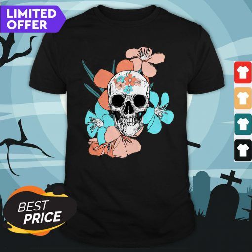 Day Of Dead Dia De Los Muertos Floral Sugar Skulls Shirt