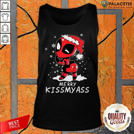 Merry Kiss My Ass Deadpool Christmas 2021 Tank Top-Design By Palacetee.com