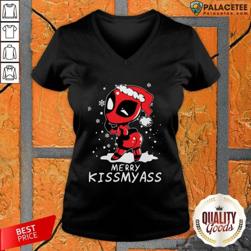 Merry Kiss My Ass Deadpool Christmas 2021 V-neck-Design By Palacetee.com