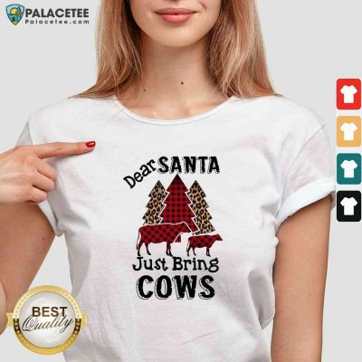 Premium Dear Santa Just Bring Cows Tree V-neck-Design By Palacetee.com