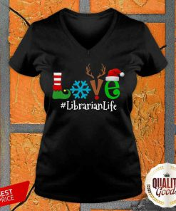 Pretty Love Snow Elf Reindeer Librarian Life Christmas V-neck-Design By Palacetee.com