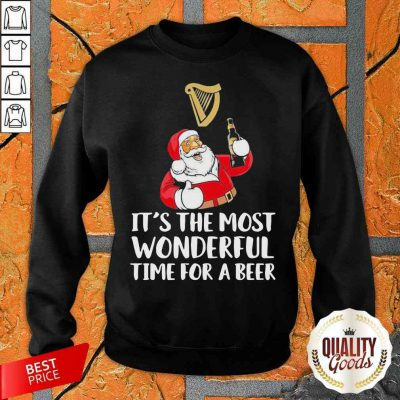 Santa Drink Guinness Beer It'S The Most Wonderful Time For A Beer Sweatshirt-Design By Palacetee.com