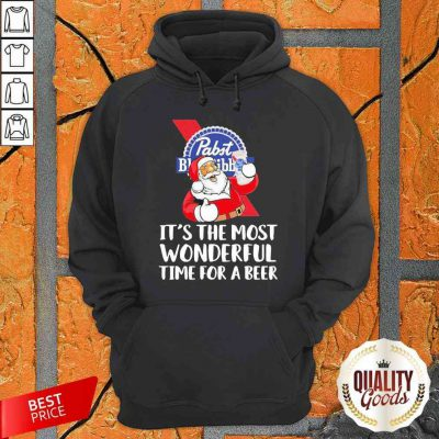 Santa Drink Pabst Blue Ribbon Beer It'S The Most Wonderful Time For A Beer Hoodie-Design By Palacetee.com