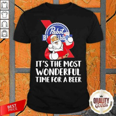 Santa Drink Pabst Blue Ribbon Beer It'S The Most Wonderful Time For A Beer Shirt-Design By Palacetee.com