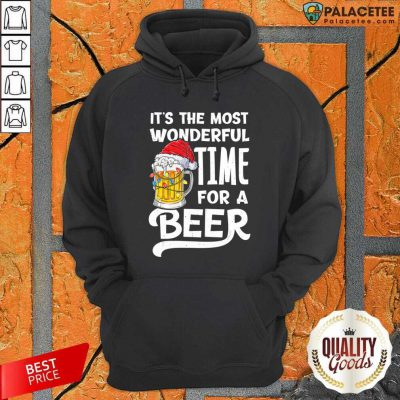 Beer Hat Santa It's The Most Wonderful Time For A Hoodie-Design By Palacetee.com