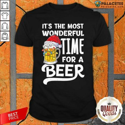 Beer Hat Santa It's The Most Wonderful Time For A Shirt-Design By Palacetee.com