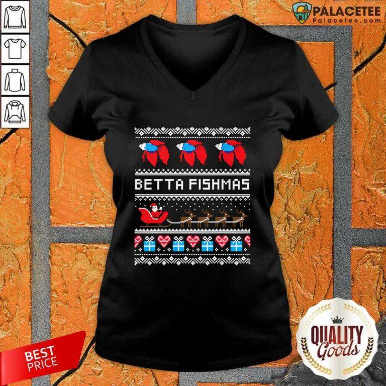 Betta Fishmas Ugly Christmas V-neck-Design By Palacetee.com