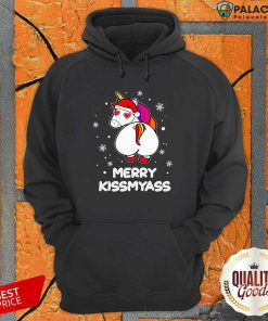 Unicorn Merry Kissmyass Ugly Christmas Hoodie-Design By Palacetee.com