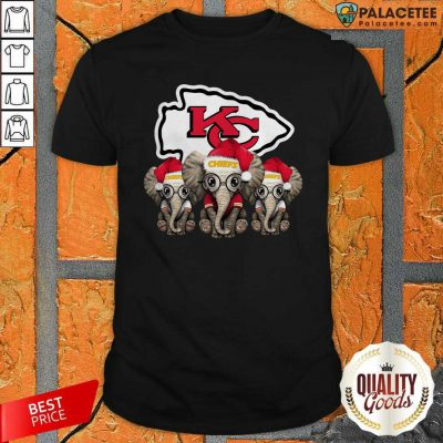 Cute Kansas City Chiefs Elephant Christmas Shirt-Design By Palacetee.com