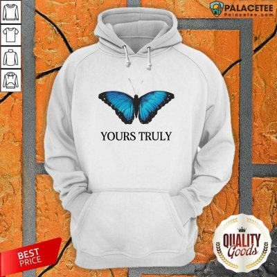 Phora Merch Yours Truly Blue Butterfly White Hoodie-Design By Palacetee.com