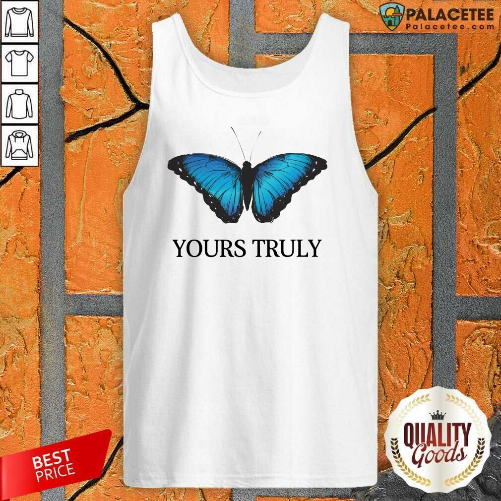 Phora Merch Yours Truly Blue Butterfly White Tank Top-Design By Palacetee.com