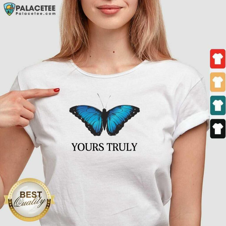 Phora Merch Yours Truly Blue Butterfly White V-neck-Design By Palacetee.com
