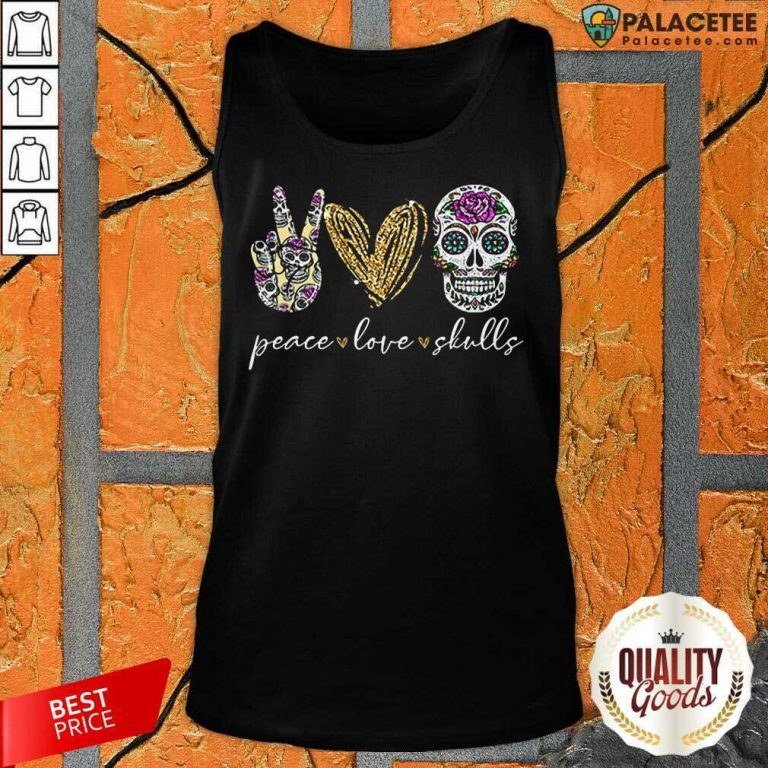 Excellent Peace Love And Skulls Diamond Tank Top