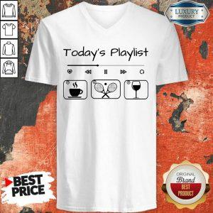 Today's Playlist Coffee Tennis Wine V-neck
